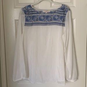 Loft Boho Long Sleeve White/Blue Blouse